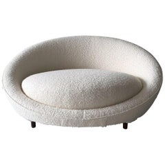 Monumental Milo Baughman Satellite Chaise in Fine Boucle