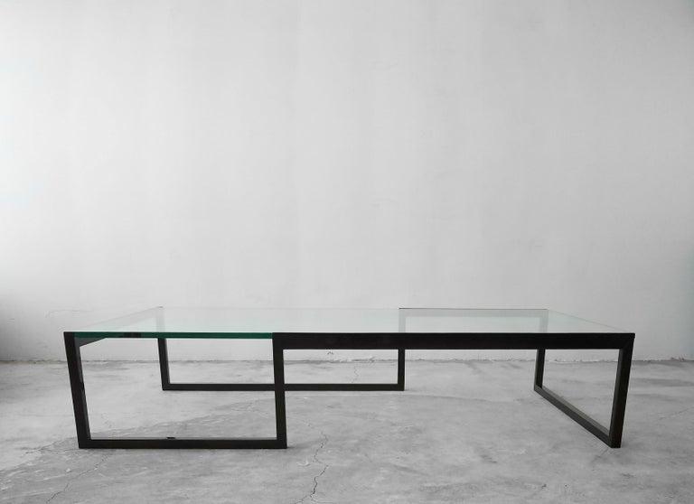 Modern Black Glass Coffee Table.Monumental Minimalist Modern Glass Coffee Table
