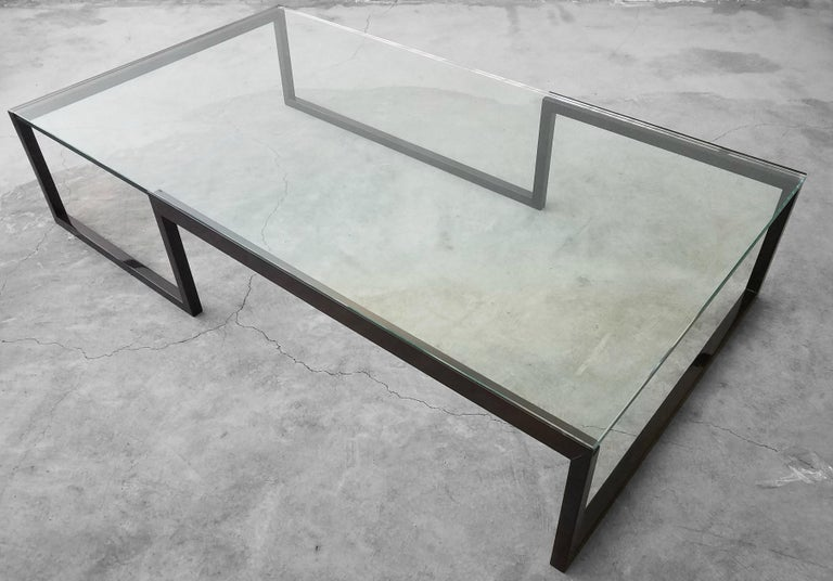 20th Century Monumental Minimalist Modern Glass Coffee Table For Sale