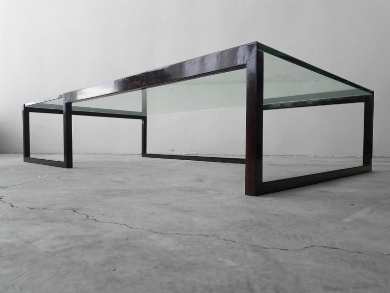 Monumental Minimalist Modern Glass Coffee Table For Sale 1
