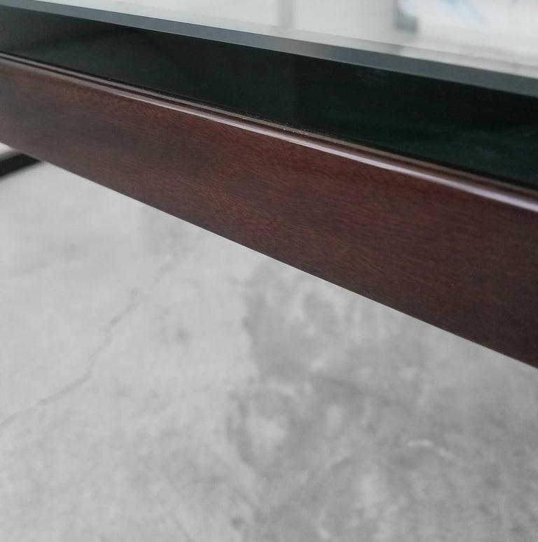 Monumental Minimalist Modern Glass Coffee Table For Sale 2