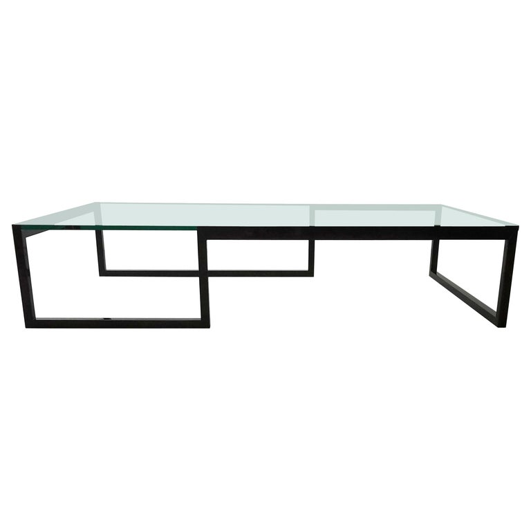 Monumental Minimalist Modern Glass Coffee Table For Sale