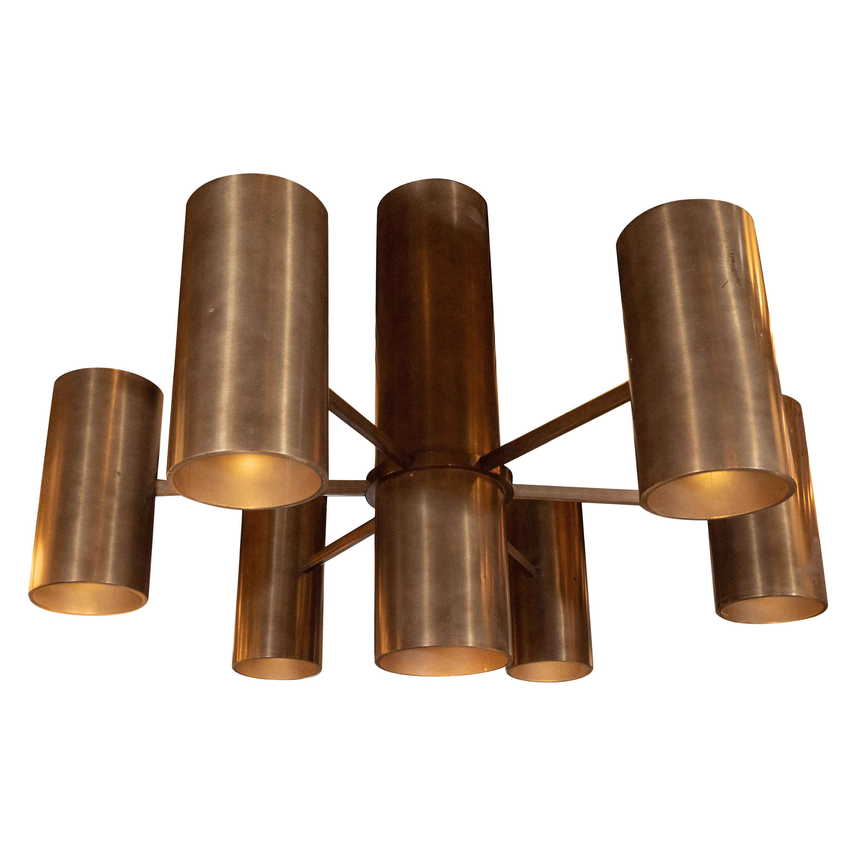 Monumental Minimalist Six-Arm Oil Rubbed Bronze Cylindrical Form Chandelier