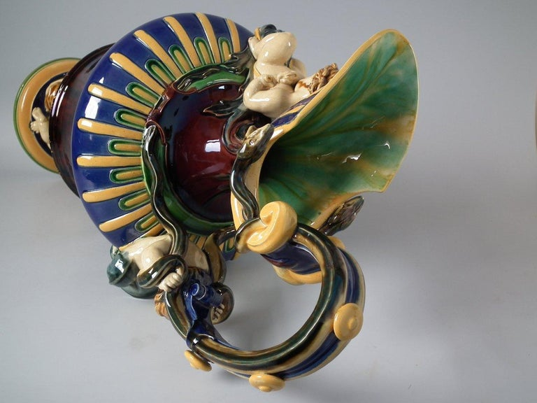 Monumental Minton Majolica Ewer and Stand For Sale 3