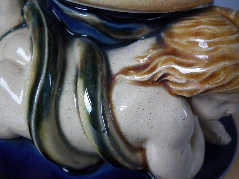 Monumental Minton Majolica Ewer and Stand For Sale 6