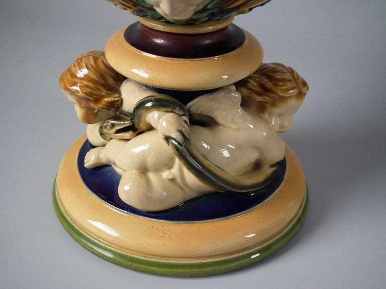 Monumental Minton Majolica Ewer and Stand For Sale 11