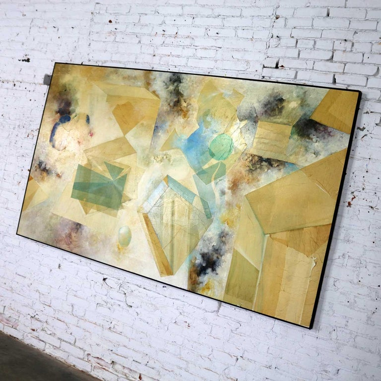 Mid-20th Century Monumental Mixed-Media Abstract 2D Art Piece Attributed to Richard Slimon, 1960s For Sale