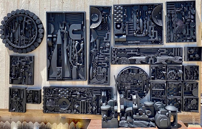 Abstract, Industrial, mixed-media wall sculpture by Marcos Lima, 2020. Gathering inspiration from the works of Louise Nevelson, the artist has assembled found midcentury objects of wood, acrylic and plastic and created a compelling work of 23 pieces