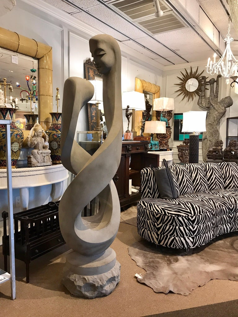 Monumental Modern Carved Limestone Spiral Sculpture For Sale 8