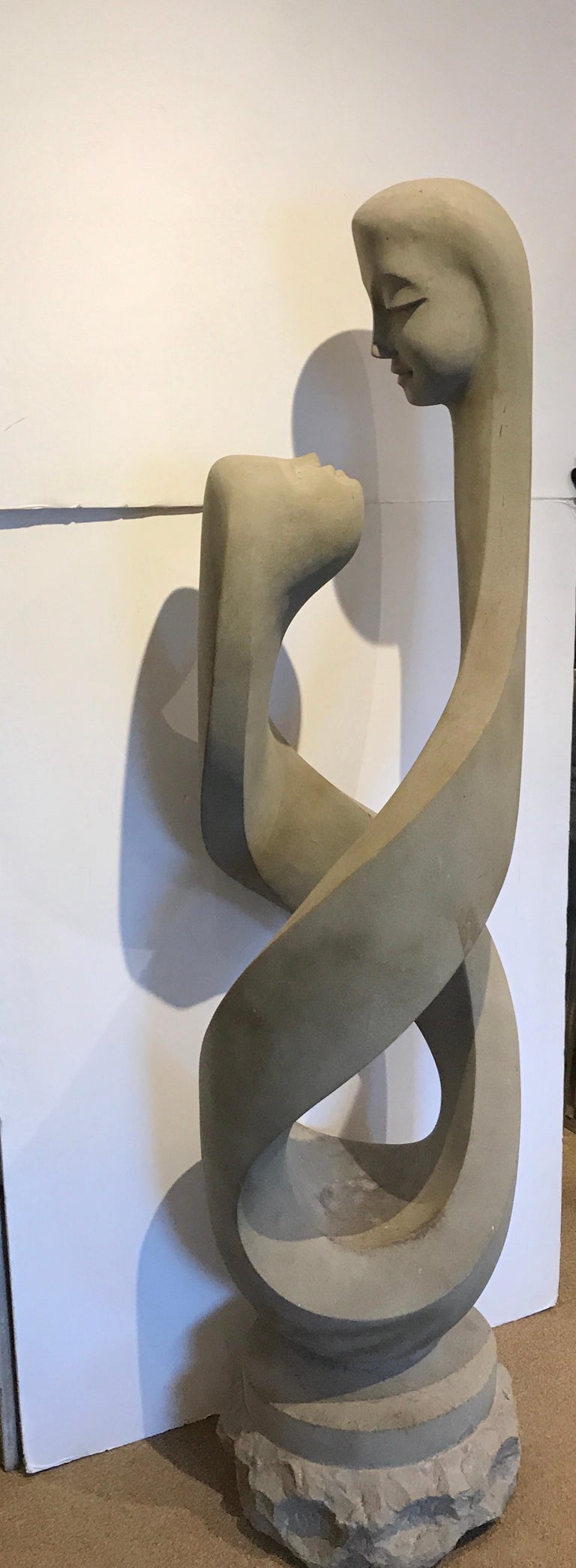 Italian Monumental Modern Carved Limestone Spiral Sculpture For Sale