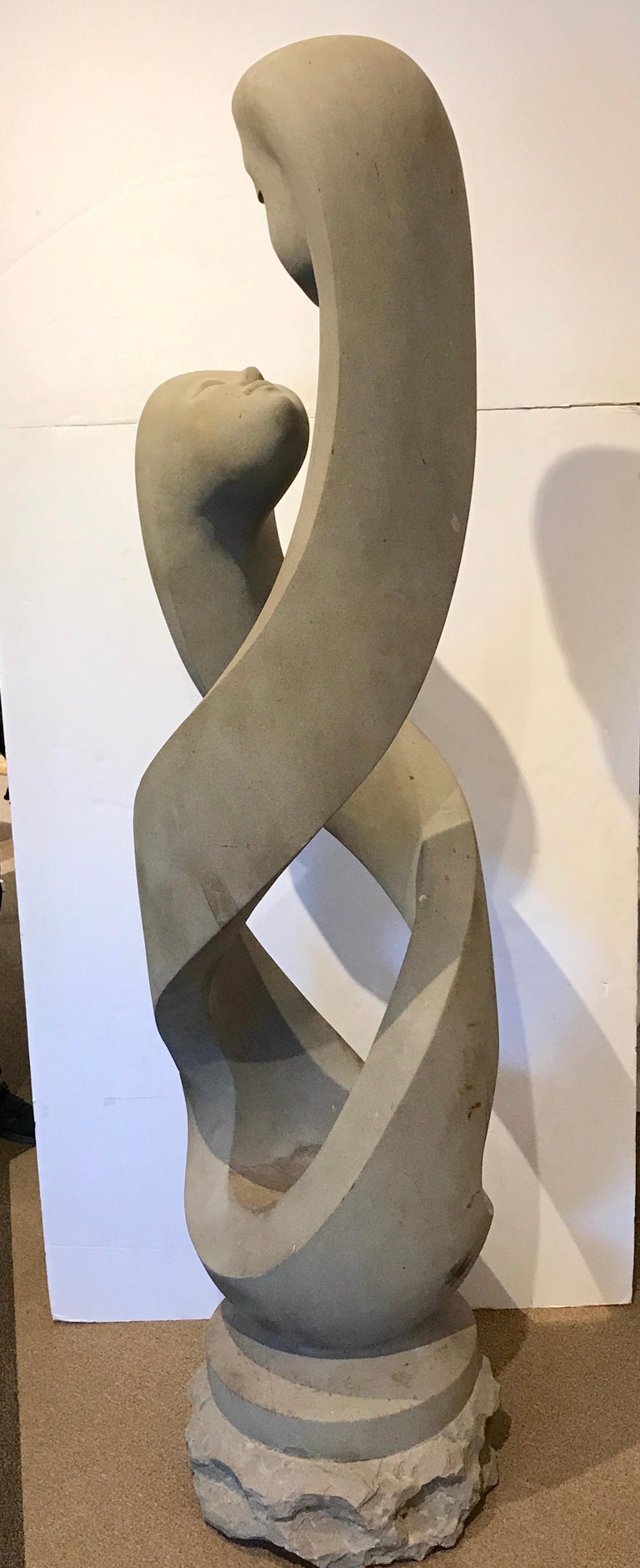 Monumental Modern Carved Limestone Spiral Sculpture For Sale 4