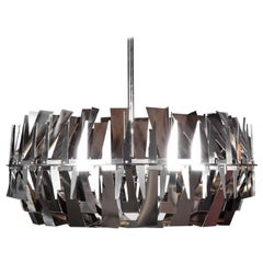 Monumental Modern Chrome Chandelier by Design Institute of America, USA, 1970