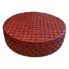 Monumental Modern English Oxblood Leather Circular Ottoman
