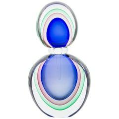 Monumental Modern Luigi Onesto Murano Sommerso Glass Decanter/Bottle/Perfume