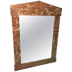 Monumental Modern Tessellated Marble Mirror with Brass Greek Key Design Inlay