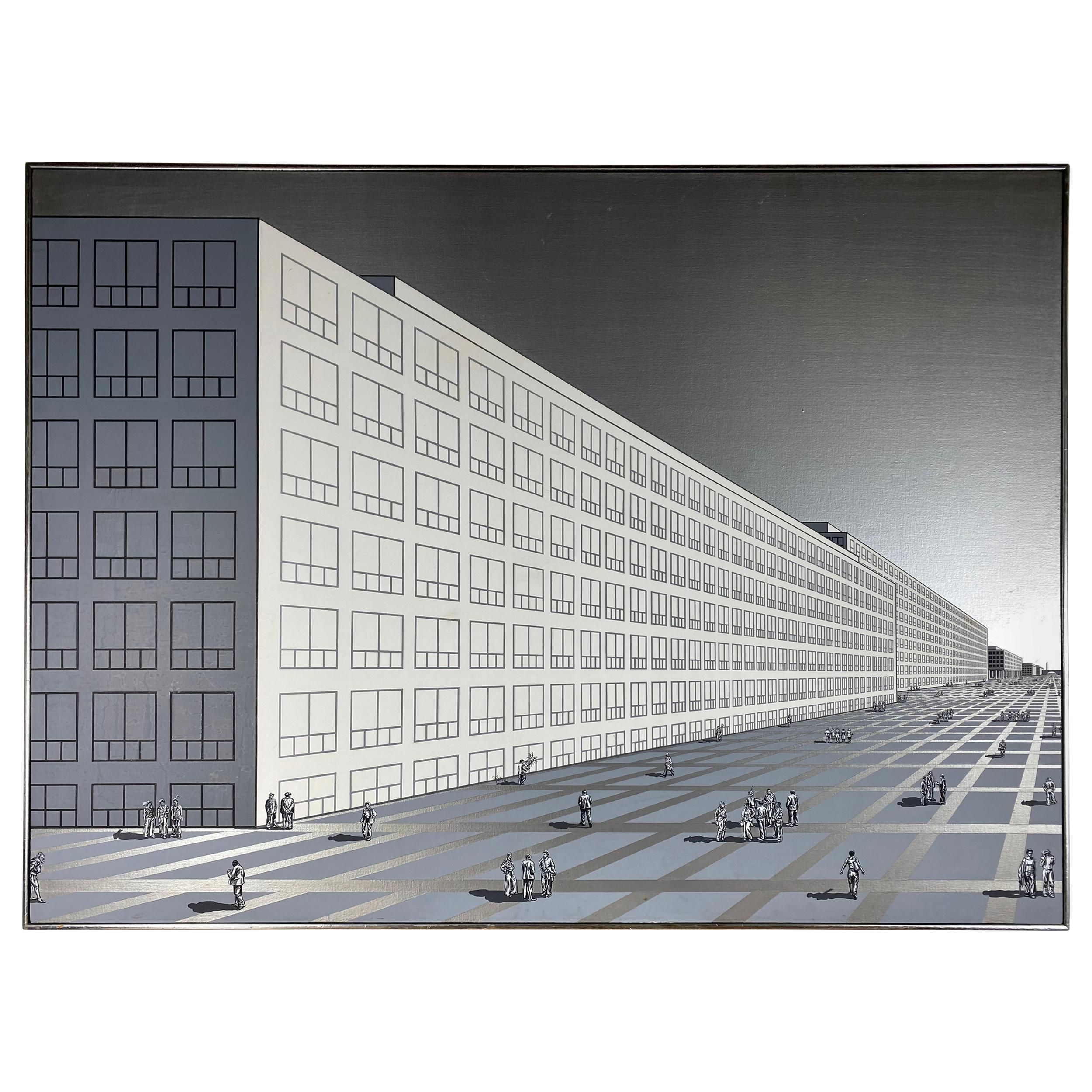 Monumental Modernist Architectural Oil Painting on Canvas, Nancy Wolf