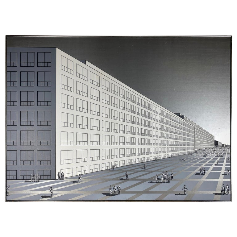 Monumental Modernist Architectural Oil Painting on Canvas, Nancy Wolf For Sale