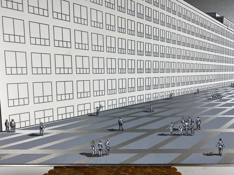 Amazing, large modernist oil painting on canvas hand executed by Nancy Wolf. Depicting almost abstract perspective view of large modernist building, landscape /concourse and people, reminiscent of a large architectural rendering, measuring 67