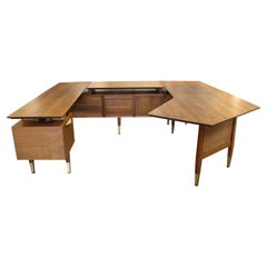 Monumental Boomerang Executive Modernist Workstation Desk