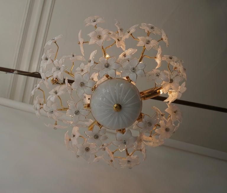 Monumental Modernist Italian Murano Venini Style Flower Glass Gilt Chandelier For Sale 5