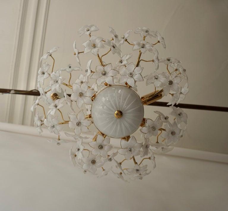 Monumental Modernist Italian Murano Venini Style Flower Glass Gilt Chandelier For Sale 6