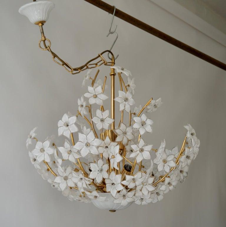 Monumental Modernist Italian Murano Venini Style Flower Glass Gilt Chandelier For Sale 7