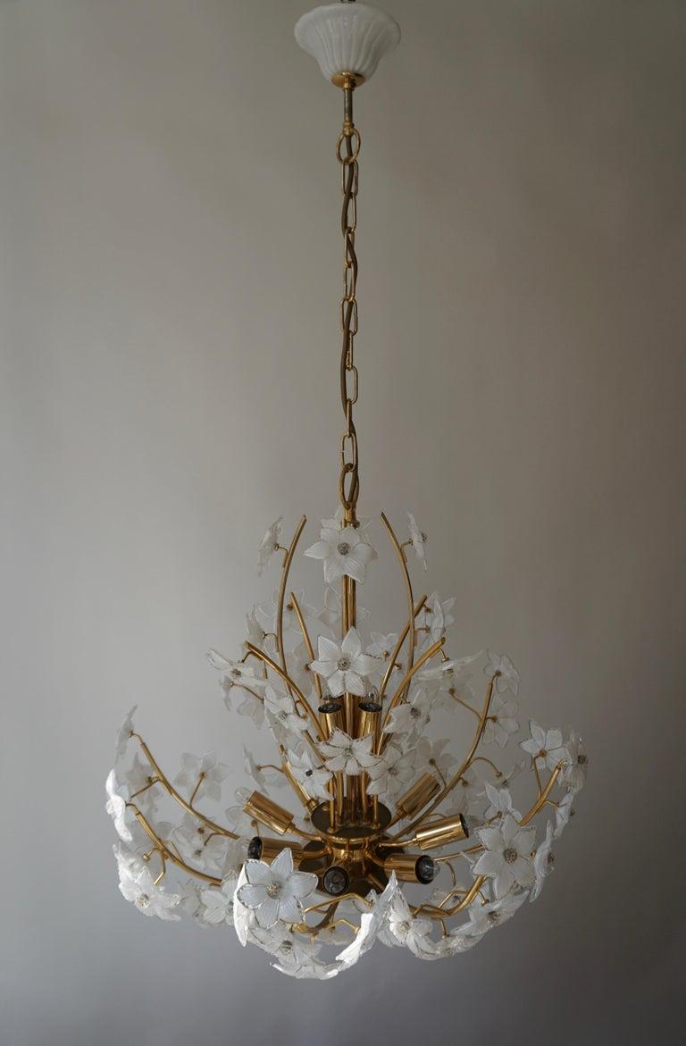 Monumental Modernist Italian Murano Venini Style Flower Glass Gilt Chandelier For Sale 10