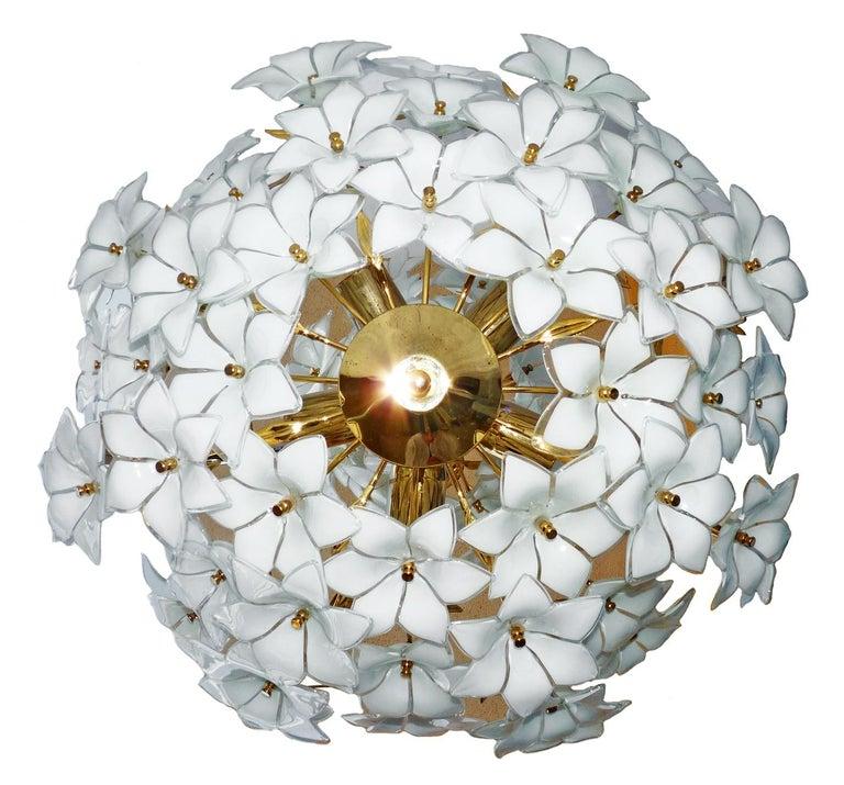 20th Century Monumental Modernist Italian Murano Venini Style Flower Glass Gilt Chandelier