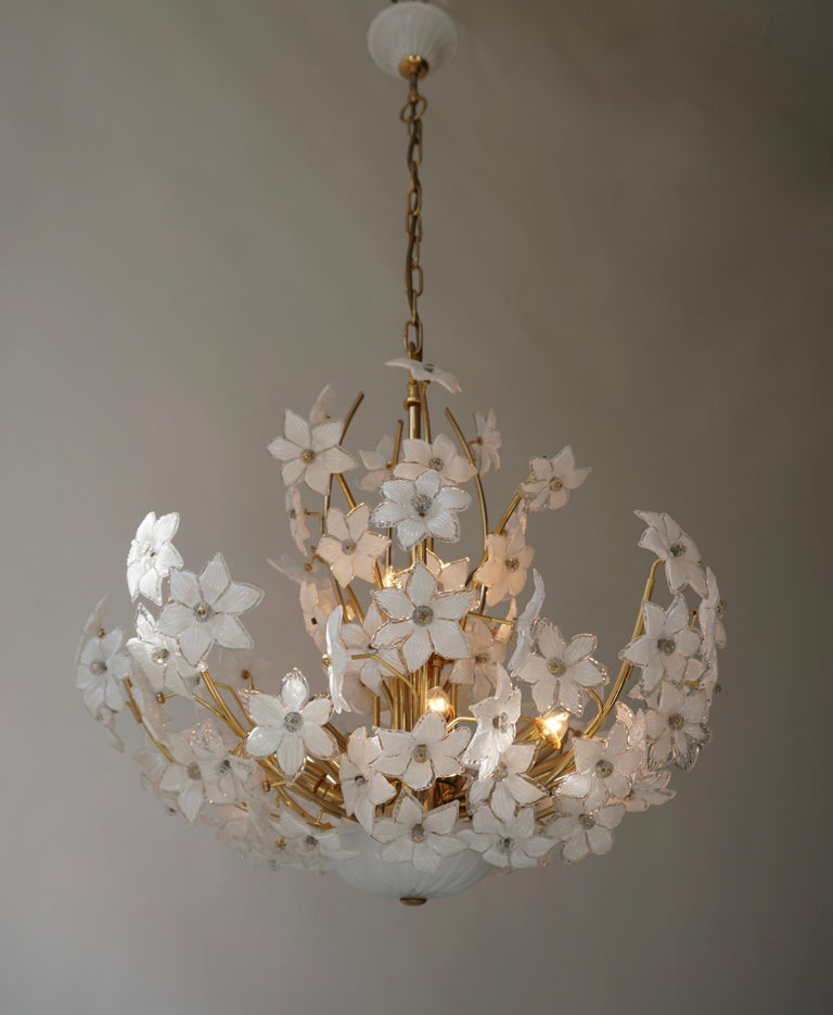 20th Century Monumental Modernist Italian Murano Venini Style Flower Glass Gilt Chandelier For Sale