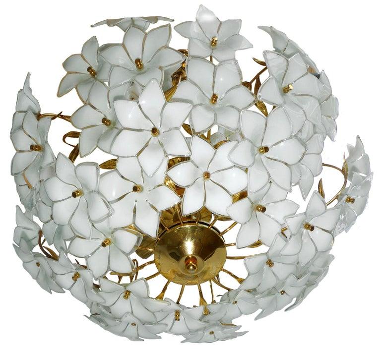 Gold Plate Monumental Modernist Italian Murano Venini Style Flower Glass Gilt Chandelier