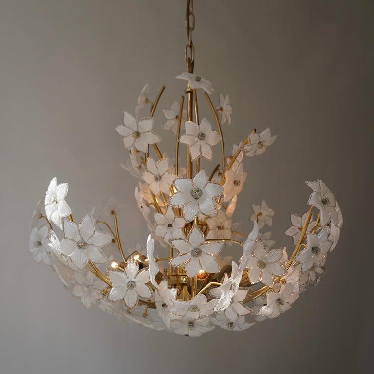 Brass Monumental Modernist Italian Murano Venini Style Flower Glass Gilt Chandelier For Sale