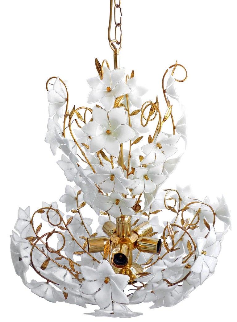 Monumental Modernist Italian Murano Venini Style Flower Glass Gilt Chandelier 1