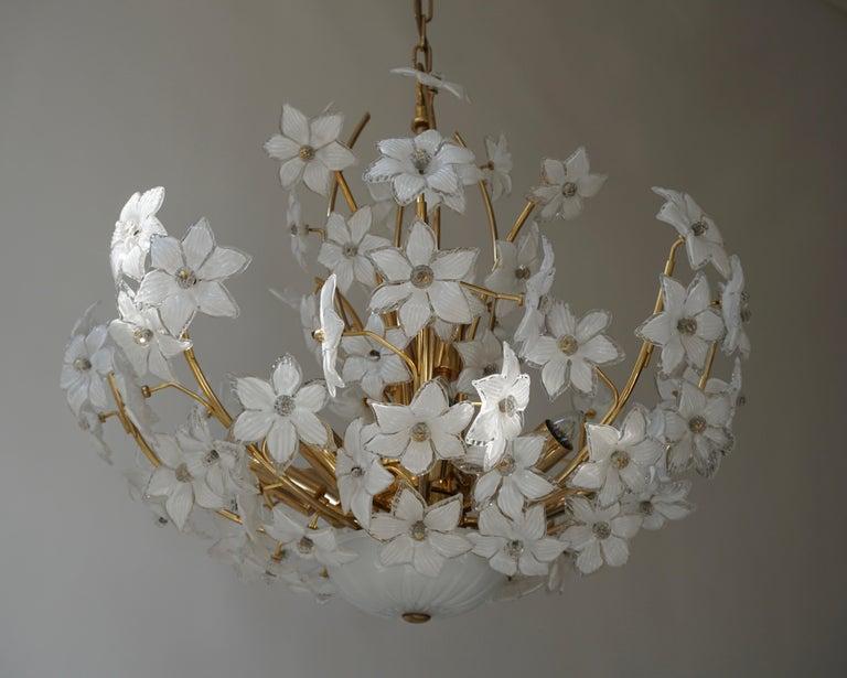 Monumental Modernist Italian Murano Venini Style Flower Glass Gilt Chandelier For Sale 1