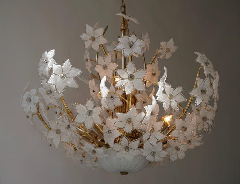 Monumental Modernist Italian Murano Venini Style Flower Glass Gilt Chandelier For Sale 3