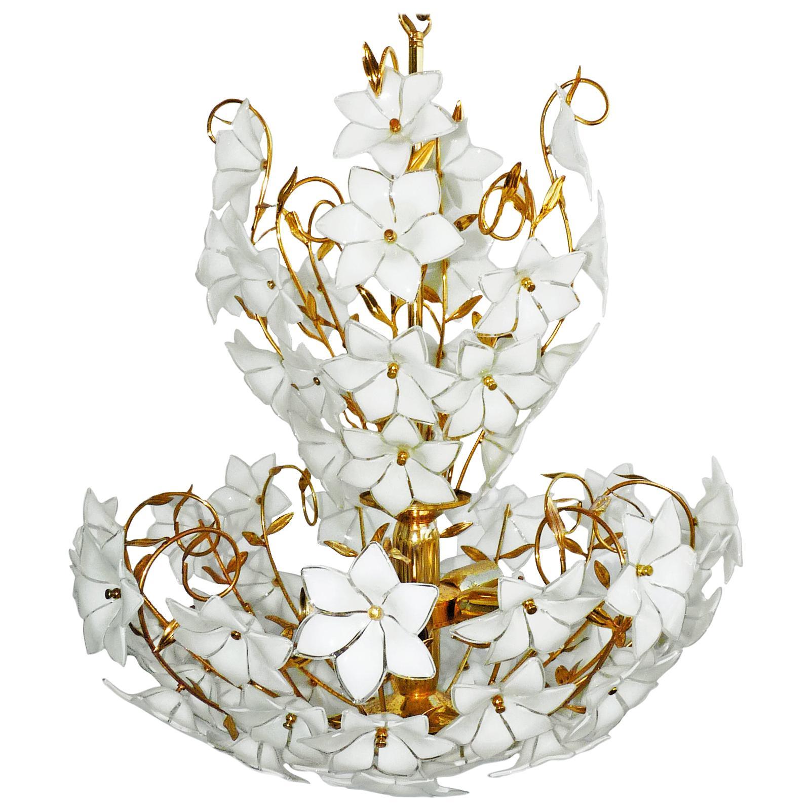 Monumental Modernist Italian Murano Venini Style Flower Glass Gilt Chandelier