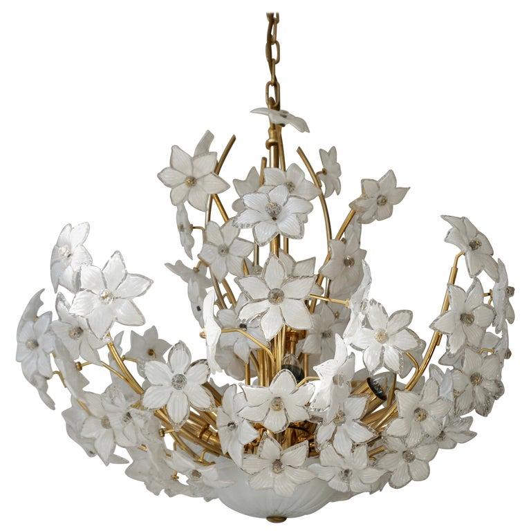 Monumental Modernist Italian Murano Venini Style Flower Glass Gilt Chandelier For Sale