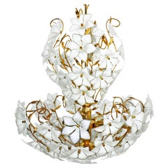 Monumental Modernist Italian Murano Venini Style Flower Glass Gilt Chandelier