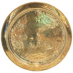 Monumental Moroccan Brass Tray Platter