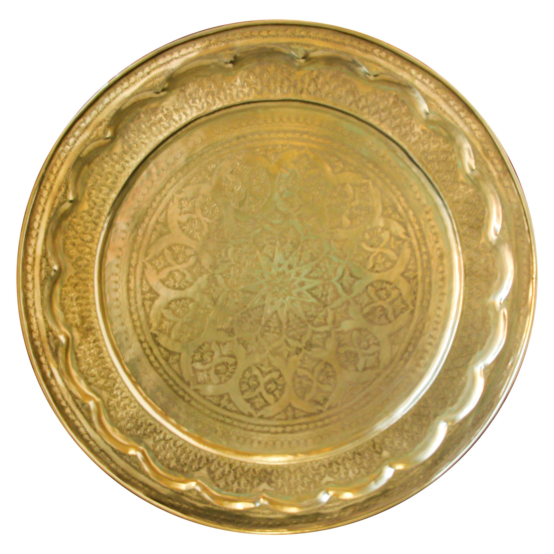 Monumental Moroccan Moorish Brass Tray Platter