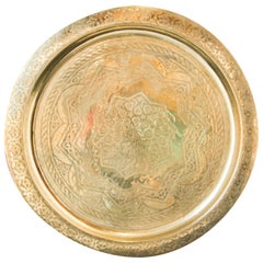 Monumental Moroccan Polished Brass Tray