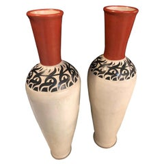Monumental Moroccan Pottery Vase or Urn Handmade in Red and White, a Pair