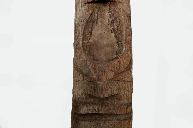 Hand-Carved Monumental Morung Carving with Three Mithun Head Decoration For Sale