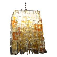 Monumental Murano Chandelier of Multicolored Interlocking Glass by Mazzega