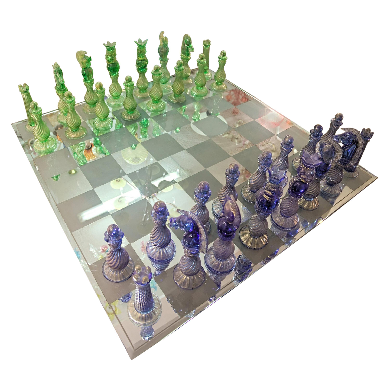 Monumental Murano Glass Chessboard 32 Sculptural Pieces Gold Leaf Unique