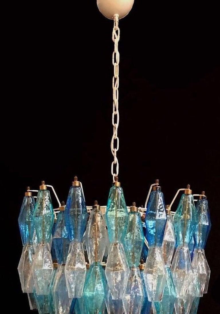 Monumental Murano Glass Sapphire Colored Poliedri Chandelier For Sale 3