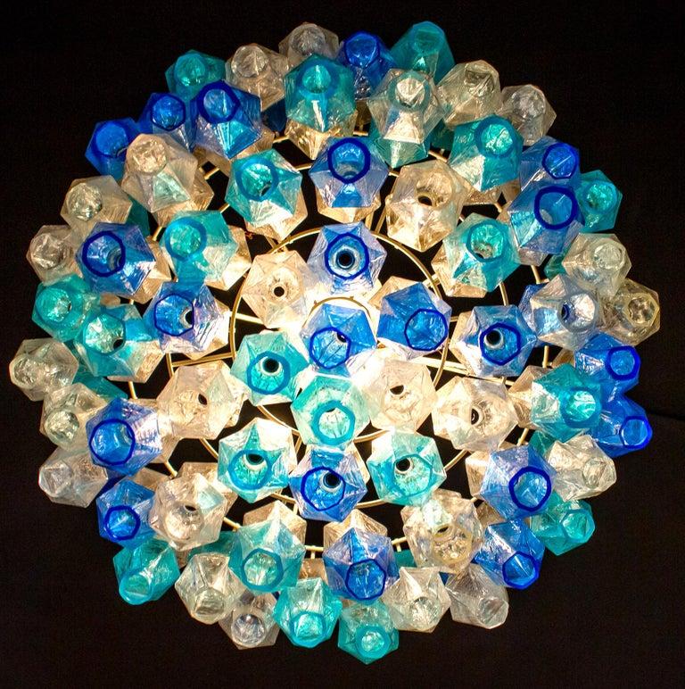 Monumental Murano Glass Sapphire Colored Poliedri Chandelier For Sale 4