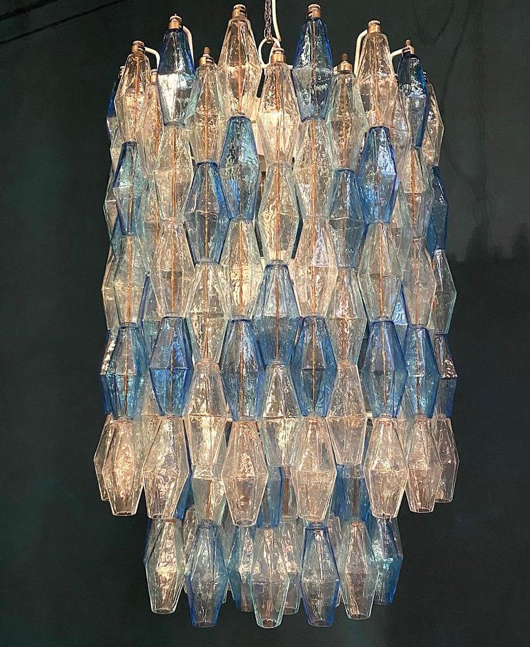 Monumental Murano Glass Sapphire Colored Poliedri Chandelier For Sale 6