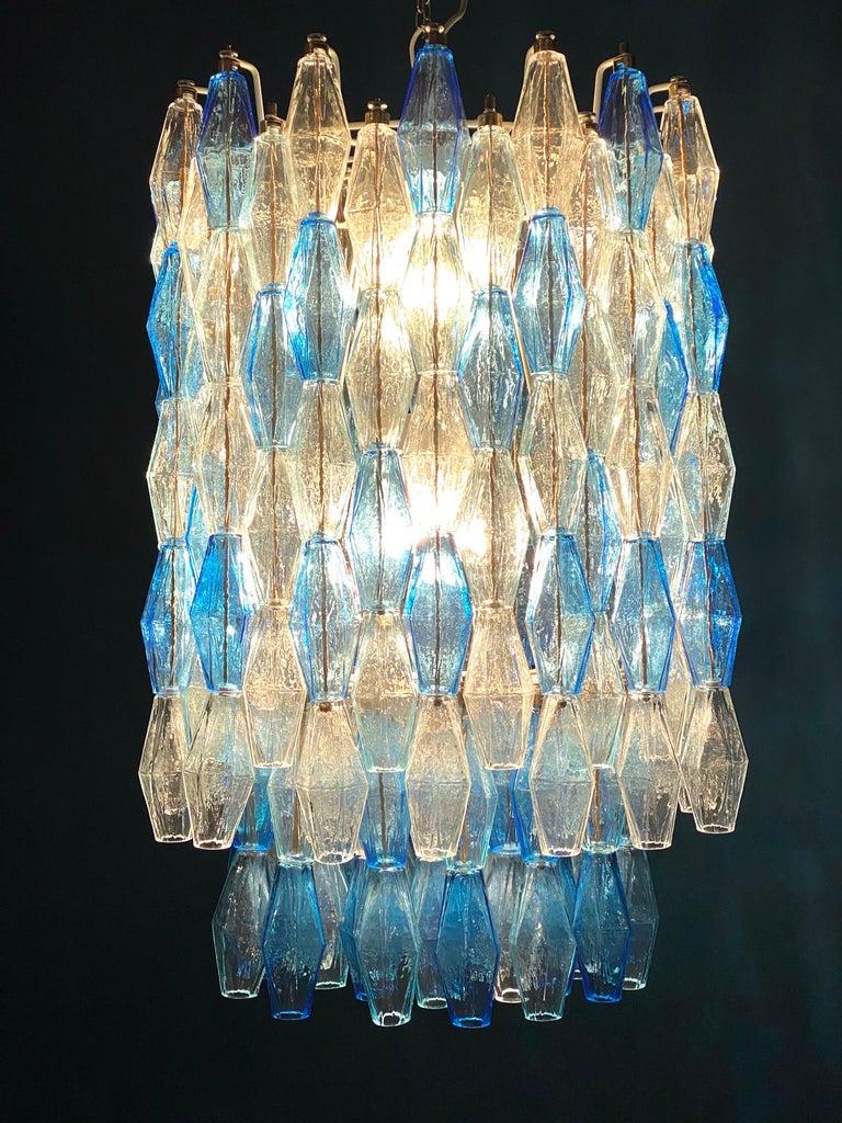 Monumental Murano Glass Sapphire Colored Poliedri Chandelier For Sale 7