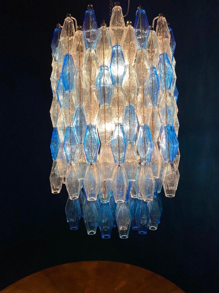 Monumental Murano Glass Sapphire Colored Poliedri Chandelier For Sale 8