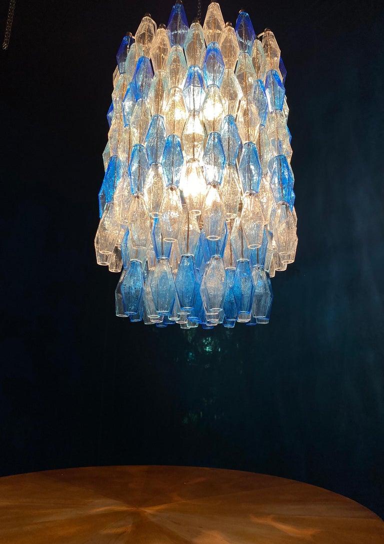 Monumental Murano Glass Sapphire Colored Poliedri Chandelier For Sale 9